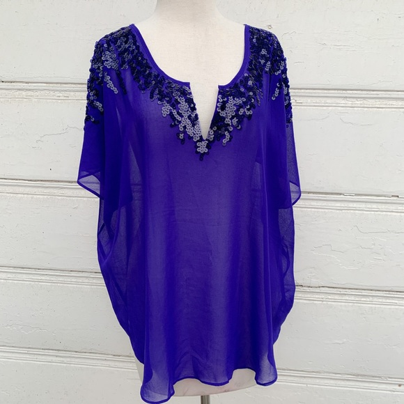 Express Tops - Sheer Express Top with Sequins Size Lg